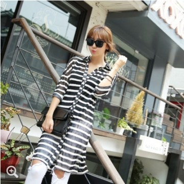 TE9950WJYS Color matching stripes half sleeve long shirt