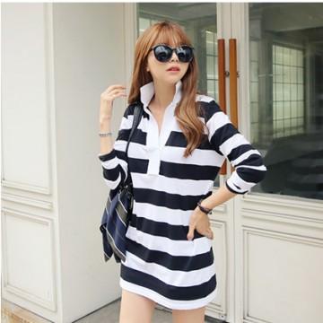 TE9952WJYS Korean fashion stripes loose long sleeve shirt