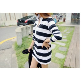 TE9952WJYS Korean fashion stripes loose long sleeve shirt