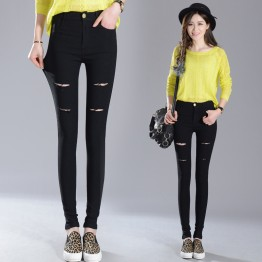 TE1893HLNK Elastic slim holes pencil leggings