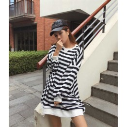 TE690YRYY Autumn new style oversize stripes pullover sweatshirt