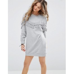 TE8752MRFS Tassel round neck long sleeve fleece dress