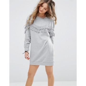 TE8752MRFS Tassel round neck long sleeve fleece dress