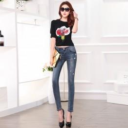 TE8792XCW 2016 autumn Korean fashion rivet holes pencil jeans