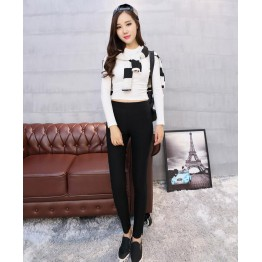 TE8810HLNK Elastic slim slit ninth pencil leggings