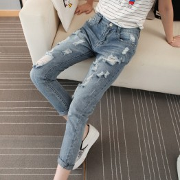TE8836XCW 2016 autumn BF style loose holes harem jeans