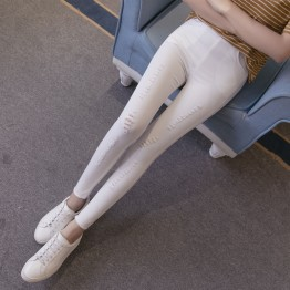 TE925HLNK Slim spandex holes ninth pencil leggings