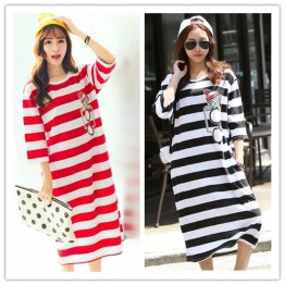 TE1507GJWL Loose casual comfortable print stripes long t-shirt dress