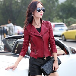 TE8801JMSJ 2016 autumn trendy short locomotive leather jacket