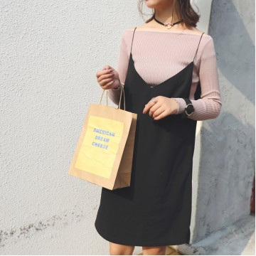 TE9665ATSS Korean fashion v neck suspender dress