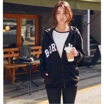 TE9676ATSS Korean fashion loose big pocket print fleece coat