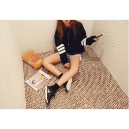 TE9679ATSS Korean fashion new style stripes sleeve preppy style hoodie