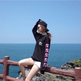 TE9682ATSS Harajuku BF style originality print long sleeve t-shirt
