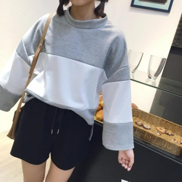 TE9686ATSS Preppy style round neck fashion splicing pullover sweatshirt