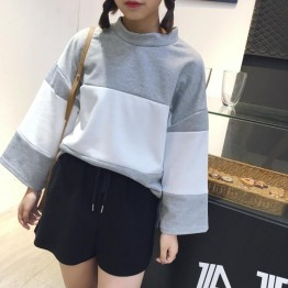 TE9686ATSS Preppy style round neck fashion splicing pullover sweatshirt