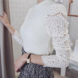 TE9985WJYS Autumn elegant lace splicing knitting tops