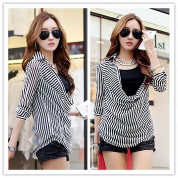 TE1367GJWL Korean fashion stripes blouse with inner vest