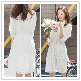 TE1373GJWL Korean fashion comfortable slim waist hollow out lace cotton dress