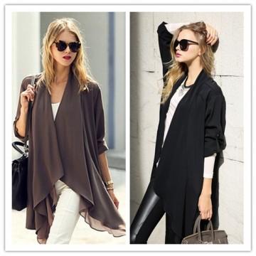 TE1374GJWL Euramerican fashion splicing wide hem casual loose cardigan