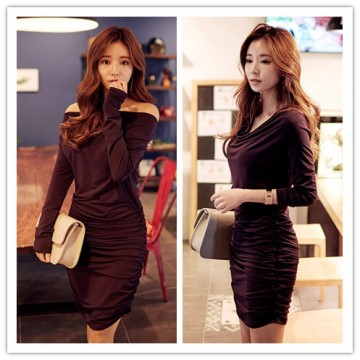 TE1379GJWL Fashion slim pure color drape sides gentlewomen dress