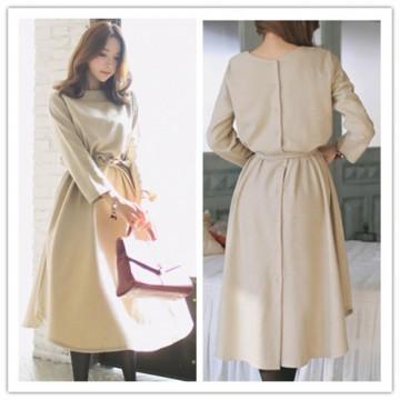 TE1380GJWL Fashion trendy elegant charming waist buttons long sleeve dress