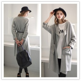 TE1382GJWL New style Europe fashion loose casual wind coat with belt