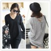 TE1385GJWL New style Korean fashion casual loose back lacing v neck t-shirt