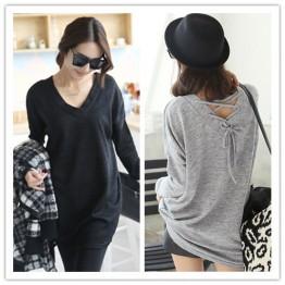 TE1385GJWL New style Korean fashion casual loose back lacing v neck t-shirt