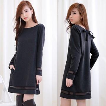 TE1387GJWL Sweet fashion bowknot back transparent stripes dress