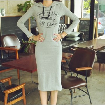 TE1390GJWL Korean fashion print slim long dress with cap