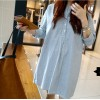 TE1392GJWL Korean fashion loose casual stand collar stripes dress