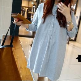 TE1392GJWL Korean fashion loose casual stand collar stripes dress