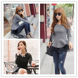 TE1396GJWL Korean fashion joker color matching slim long sleeve tops