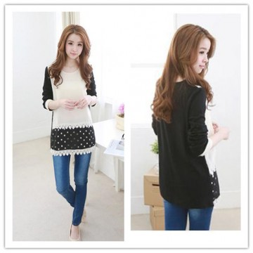 TE1397GJWL Korean fashion splicing dot chiffon cotton lace tops