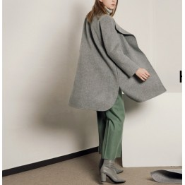 TE1399GJWL Europe and America loose casual comfortable double-faced woolen coat