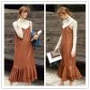 TE1509GJWL Europe fashion joker suspender long leather dress