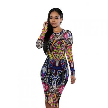 TE1187BNYR Hot sale fashion vintage digital print dress