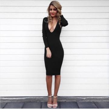 TE1189BNYR New Euramerican fashion deep v neck slim tight hip dress