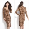 TE1192BNYR New style long sleeve v neck leopard slit long dress