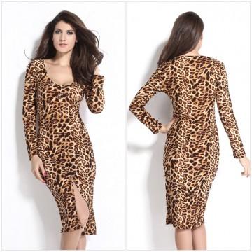 TE1192BNYR New style long sleeve v neck leopard slit long dress