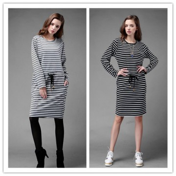 TE1366GJWL Euramerican fashion casual loose drawstring waist stripes dress