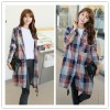 TE1503GJWL Autumn style loose joker big plaid long blouse