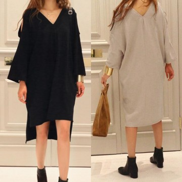 TE3069YZS Large size v neck off shoulder irregular slit long sleeve t-shirt dress