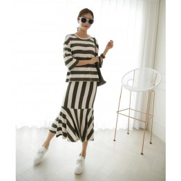 TE3070YZS Large size stripes three quarter sleeve tops with fishtail skirt