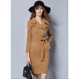 TE5682OSMY Trendy pure color slim temperament dress
