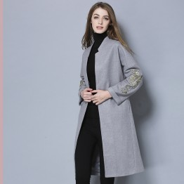 TE5685OSMY New style slim joker embroidery sleeve woolen long coat