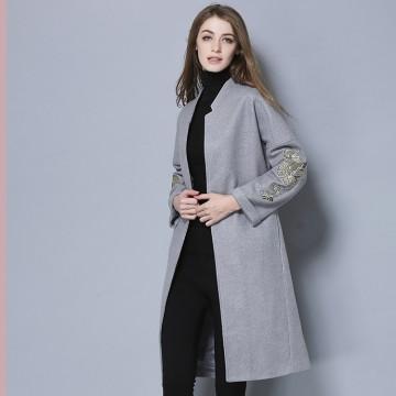 TE5685OSMY New style slim joker embroidery sleeve woolen long coat