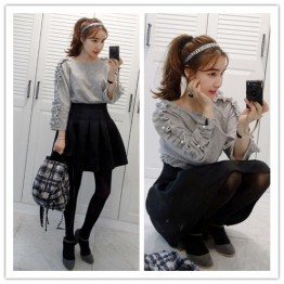 TE6481YZS Pearls agaric sweet pullover sweatshirt