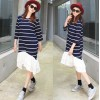 TE6485YZS Large size stripes splicing flouncing hem long sleeve dress