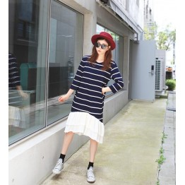 TE6485YZS Large size stripes splicing flouncing hem long sleeve dress